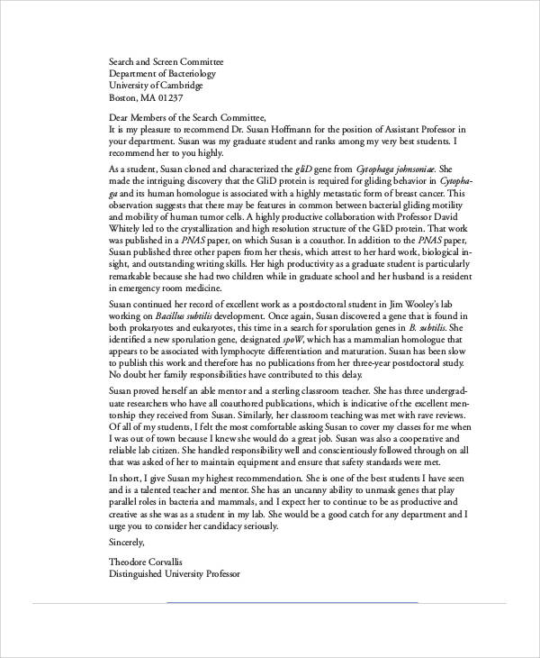sample letter of recommendation from professor