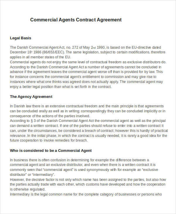 44 Contract Agreement Format   Agent Contract Agreement