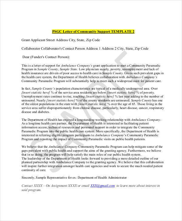 22+ Letter of Support Samples \u2013 PDF, DOC Sample Templates - sample letter of support
