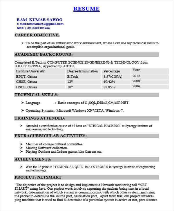 computer engineer resume objective