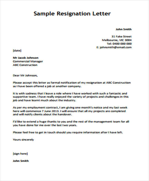 resignation letter in it company - Yelommyphonecompany