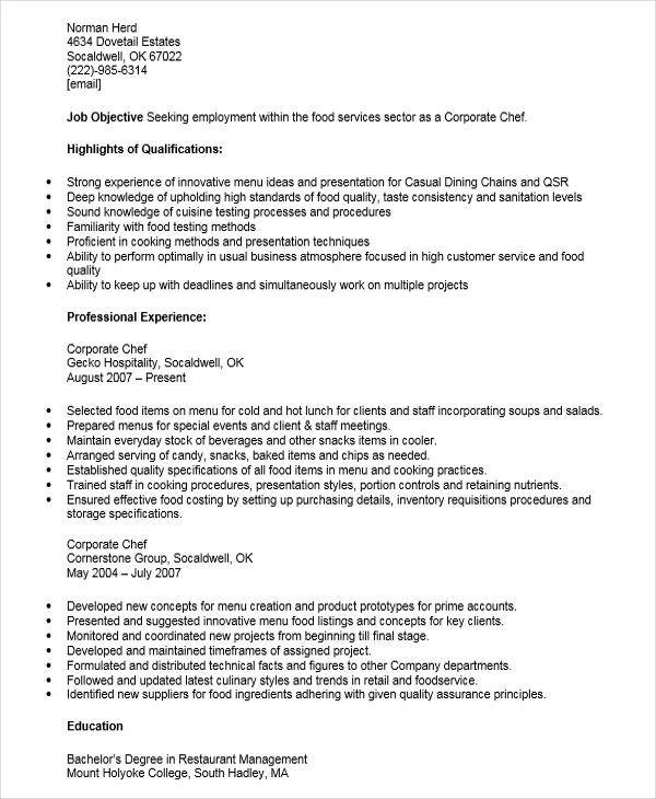 28+ Executive Resumes in Word Sample Templates - corporate chef sample resume