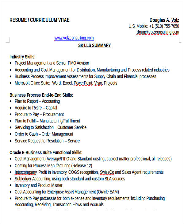 26+ Accountant Resume Formats Sample Templates - manufacturing cost accountant sample resume
