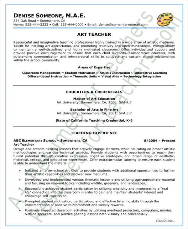 41+ Teacher Resume Formats Sample Templates