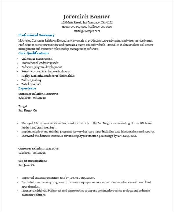 resume format customer service