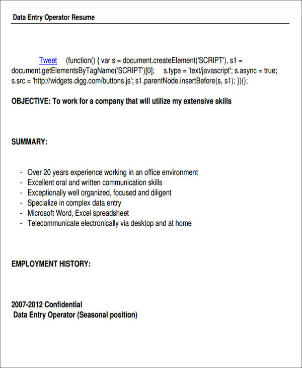 resume format in word for data entry operator professional