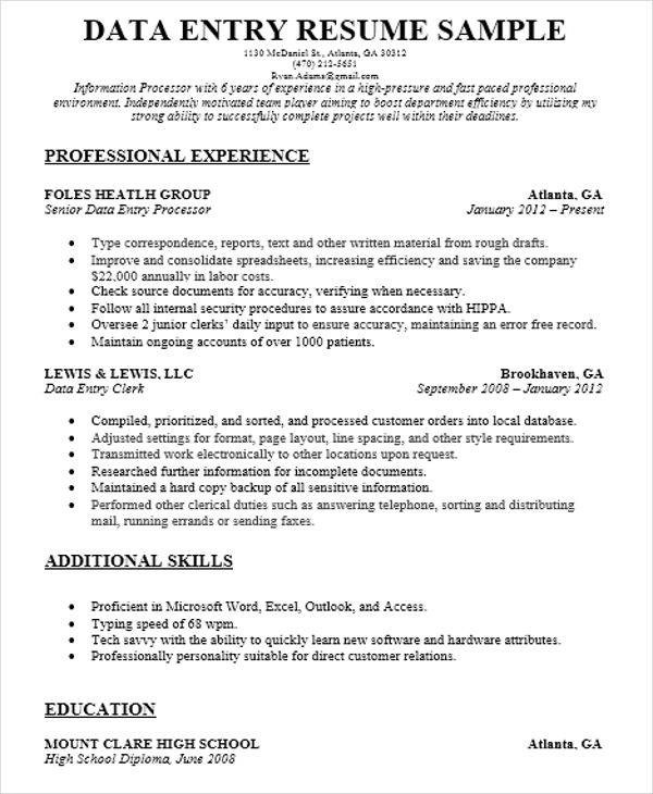51+ Resume Format Samples - resume for data entry