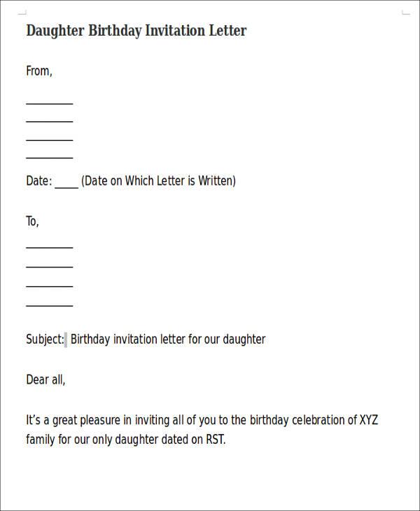35+ Invitation Letters - birthday invitation letter sample
