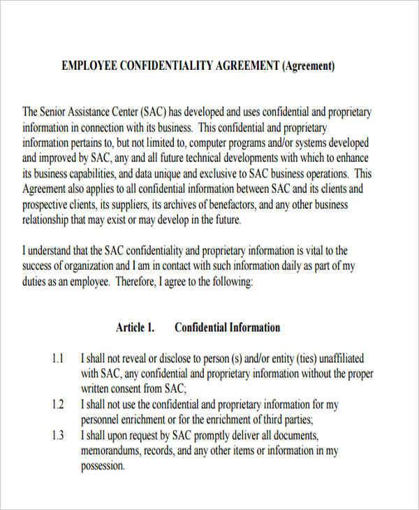 Customer Confidentiality Agreement Template amp Sample - mandegarinfo - sample client confidentiality agreements