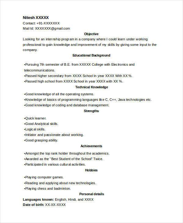 Sample Internship Resume Format Examples Objectives Internships - good objective for internship resume