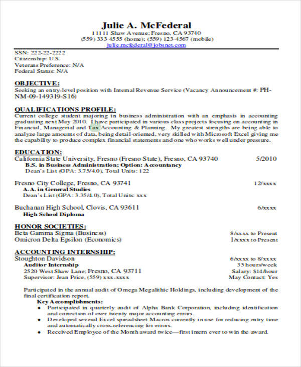 tax staff resume sample