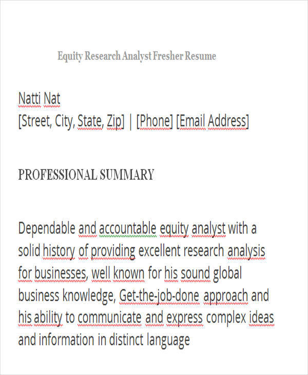 equity research resumes