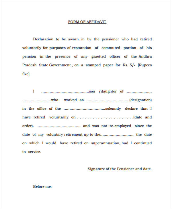 Example Of A Sworn Affidavit sample sworn statement 10 – Affidavit Samples