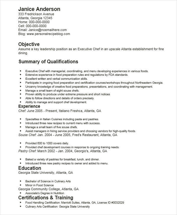 resume with executive summary