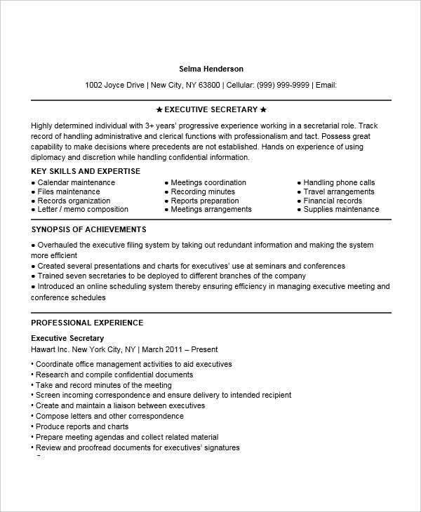 sample resume of executive secretary