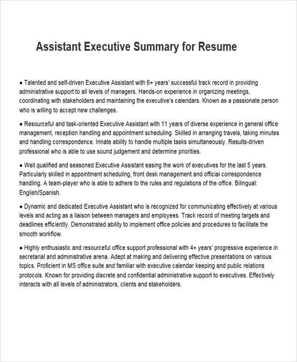 35 Free Executive Resumes - executive summary in resume