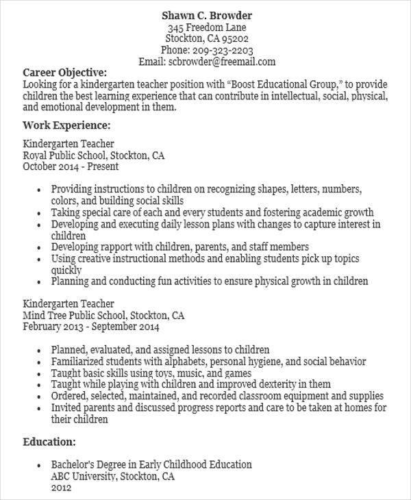 kindergarten teacher resume | resume-template.paasprovider.com