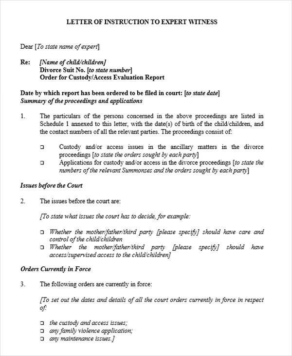 21+ Witness Letter Templates Sample Templates - divorce letter template