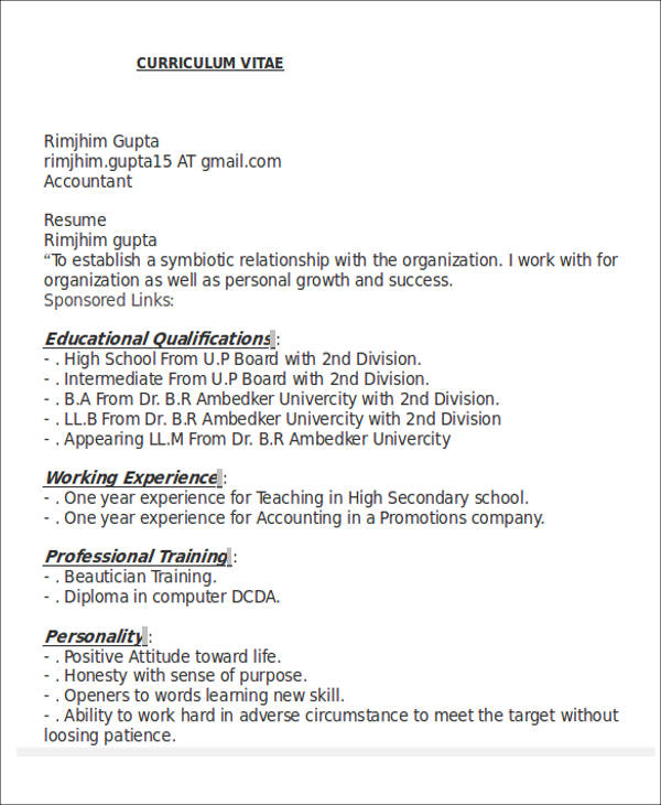 26+ Accountant Resume Formats Sample Templates