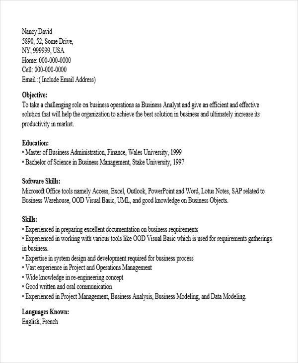 resume templates business analyst fresher