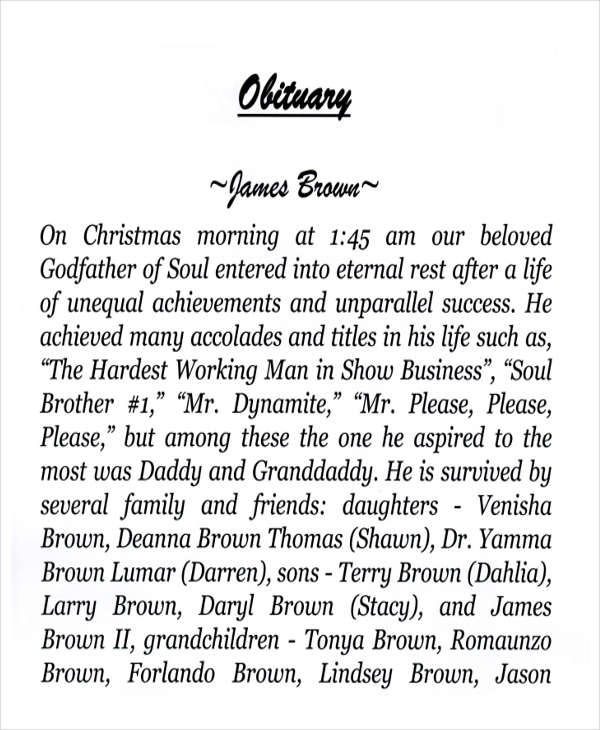 obituary templates for free