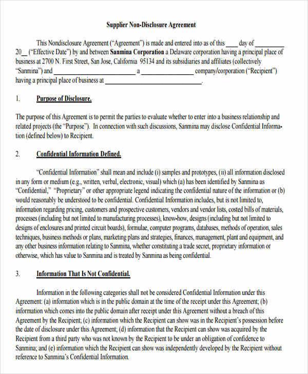Vendor Contract Templates - vendor confidentiality agreement