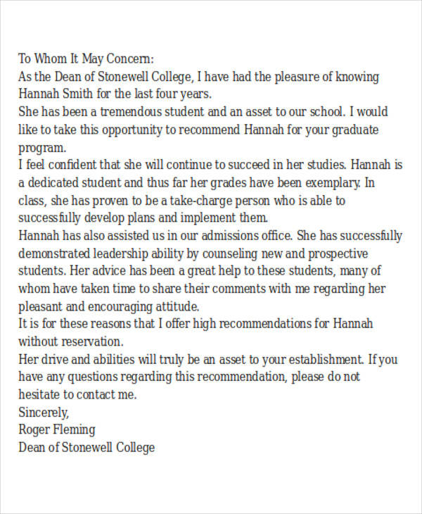 letter of recommendation for graduate college admission