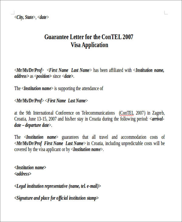 81 Sample Letters - guarantee letter