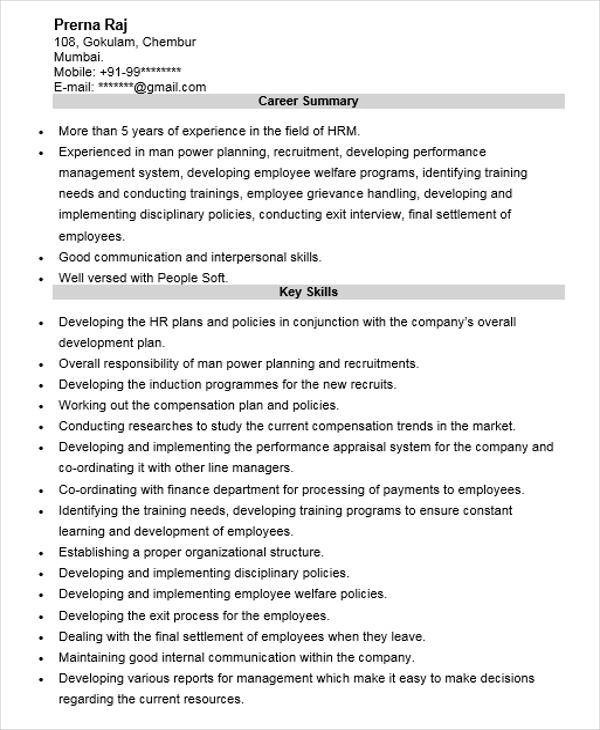 48+ Manager Resume Templates Sample Templates - Hr Manager Resumes