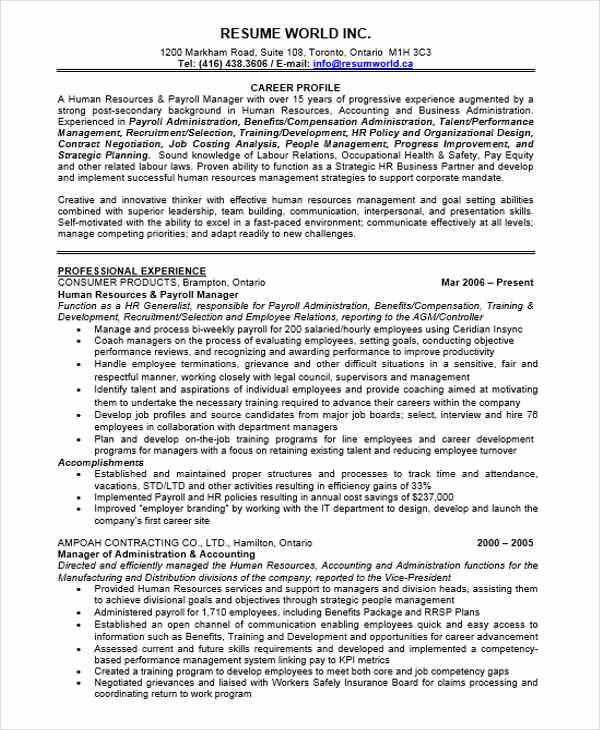 Sample Resume Hr Executive Experience \u2013 resume
