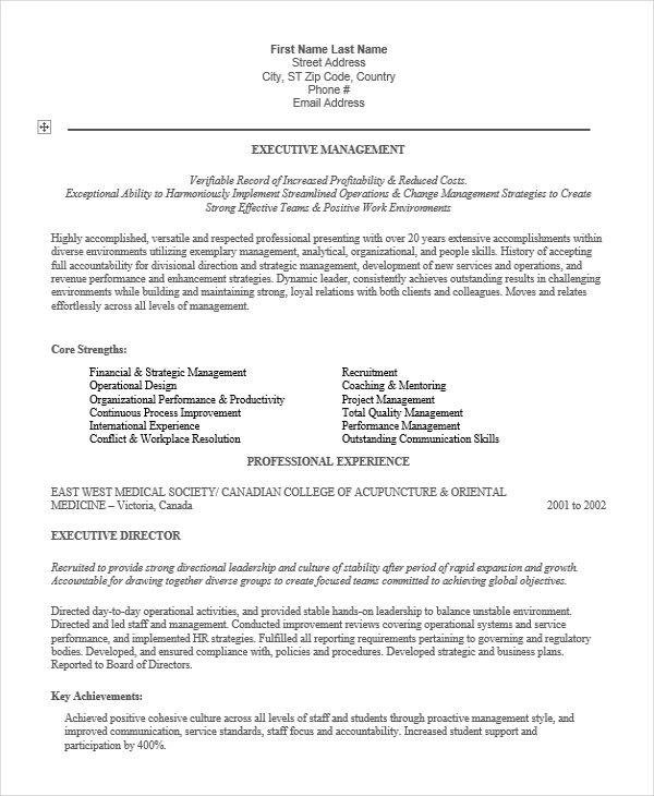 28+ Executive Resumes in Word Sample Templates - International Experience Resume