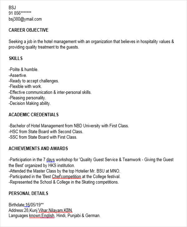 40+Fresher Resume Examples