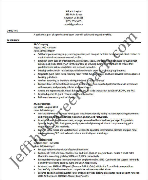 sale manager resumes