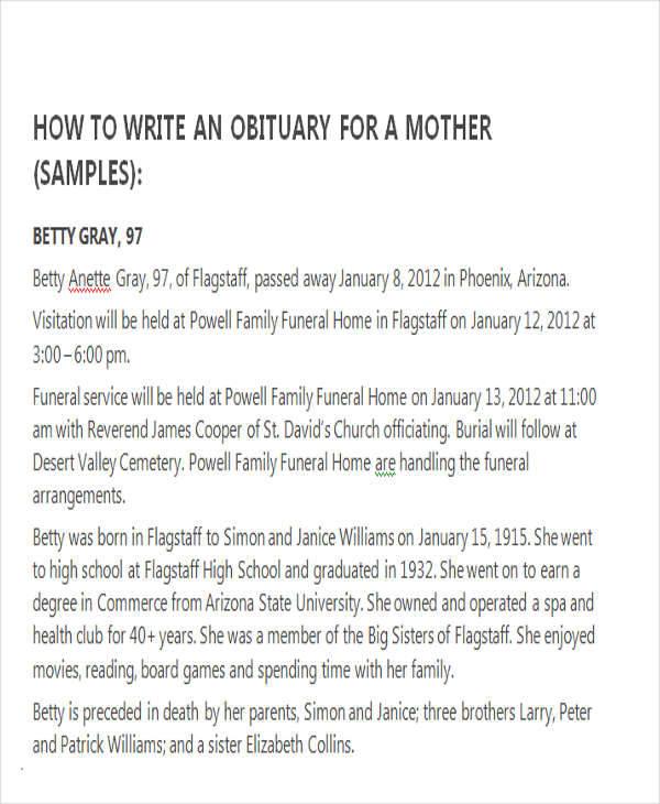 34 Sample Obituary