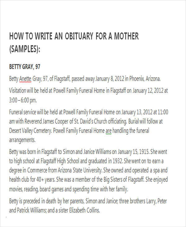 obituary examples for mother