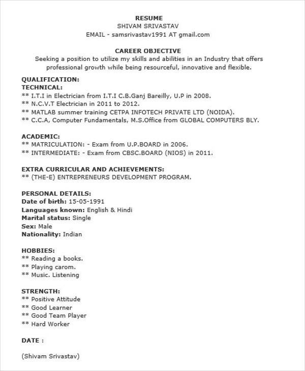 Iti Electrician Fresher Resume Format Resume Sample For I Auto