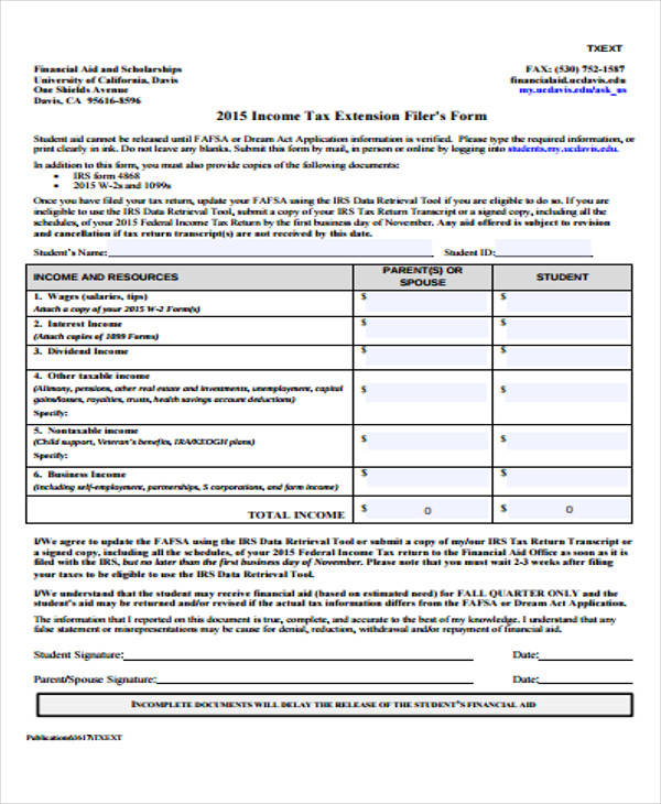... 21 Service Form Formats   Income Tax Extension Form ...