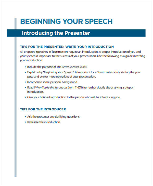 36+ Introduction Speech Examples Sample Templates - Introduction Speech Example