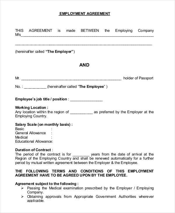 44 Contract Agreement Format - job agreement contract