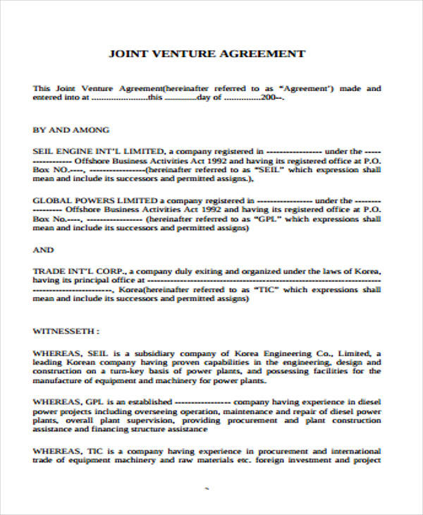 joint venture agreements sample – Sample Joint Venture Agreements