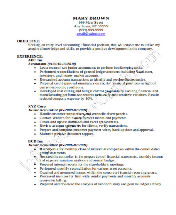 36+ Accountant Resume Samples