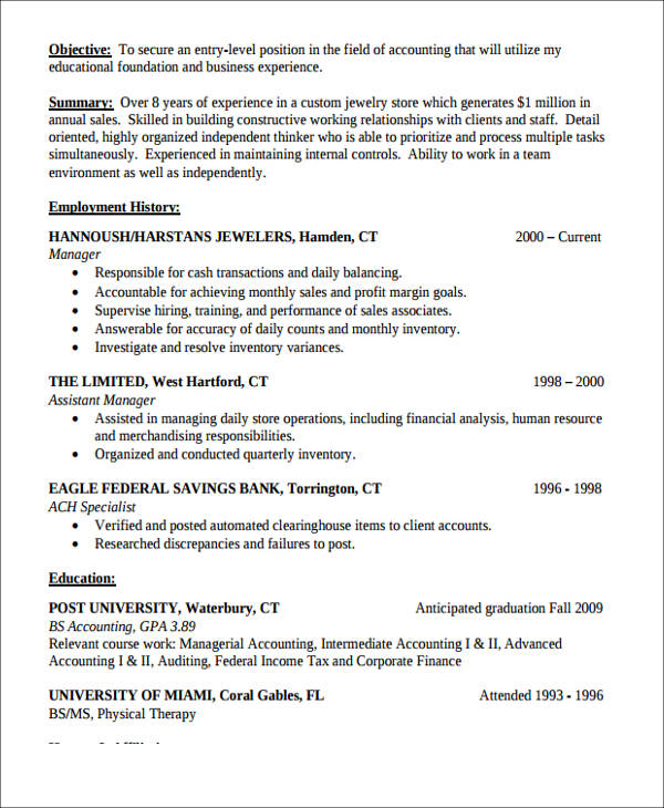 26+ Accountant Resume Format - entry level accounting resume objective