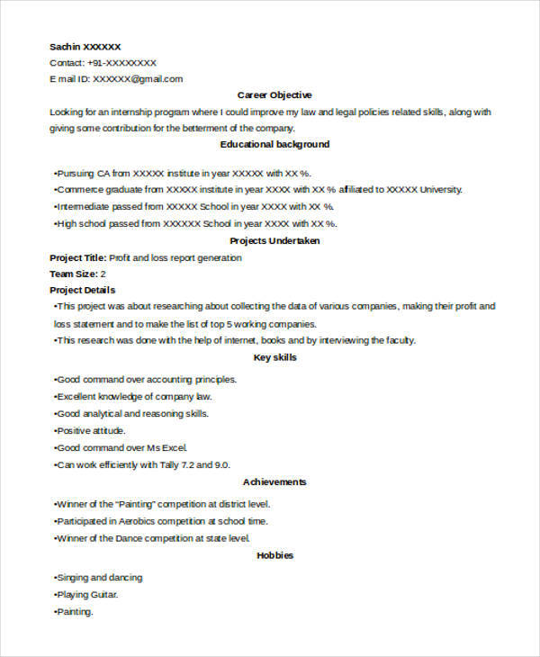 Internship resume template 11 free samples examplespsd
