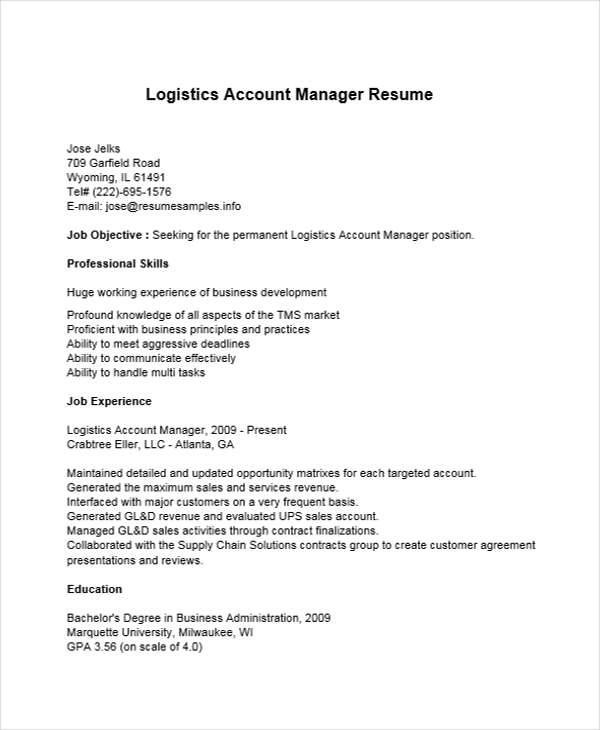 36+ Manager Resumes in Word Sample Templates