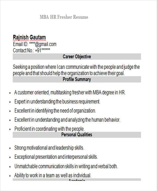 resume samples mba hr freshers
