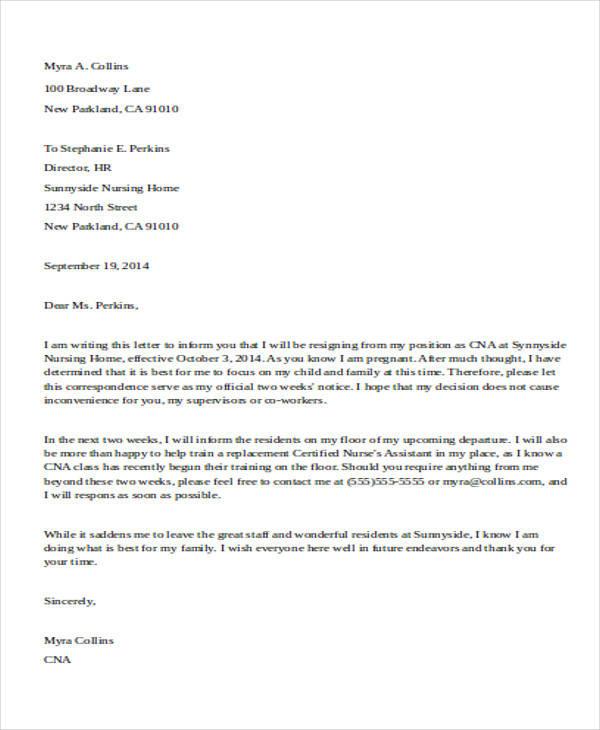 Resignation Letter Reason To Rest – Maternity Resignation Letter