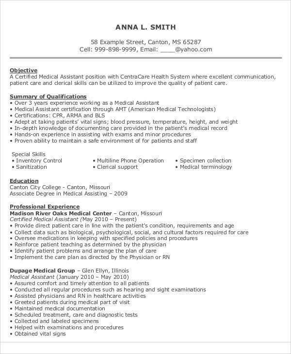 9+ Resume Objective Statement Examples Sample Templates - resume objectives for healthcare
