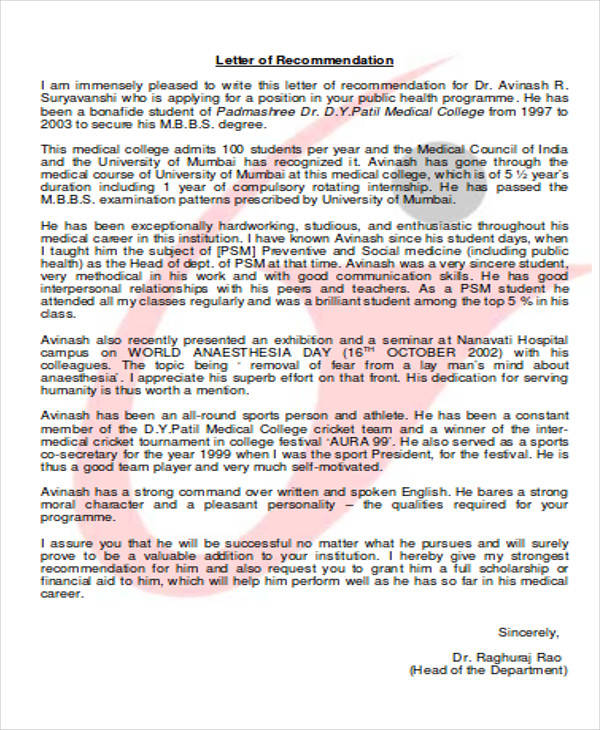 8+ Medical School Recommendation Letter - PDF, Word