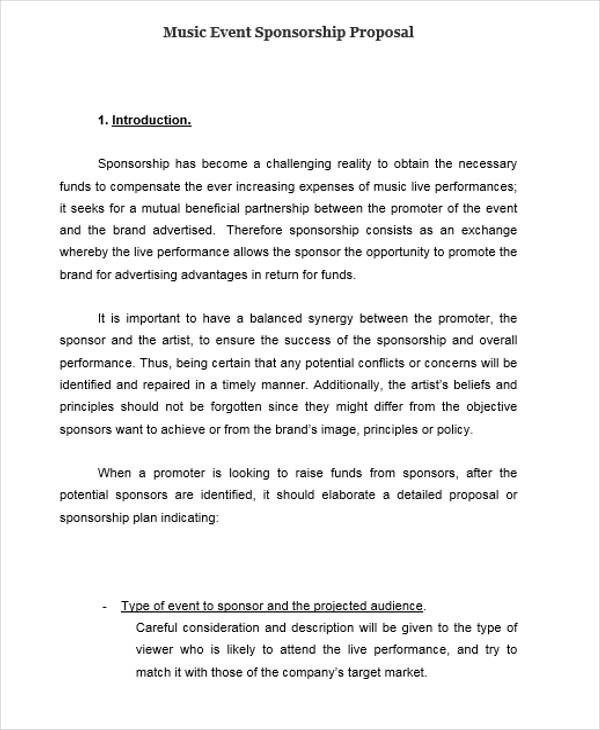 sponsorship proposal sample for events