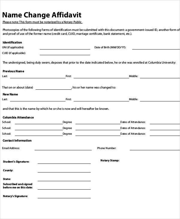Name Affidavit Form free download and editable affidavit form – Affidavit Forms Free